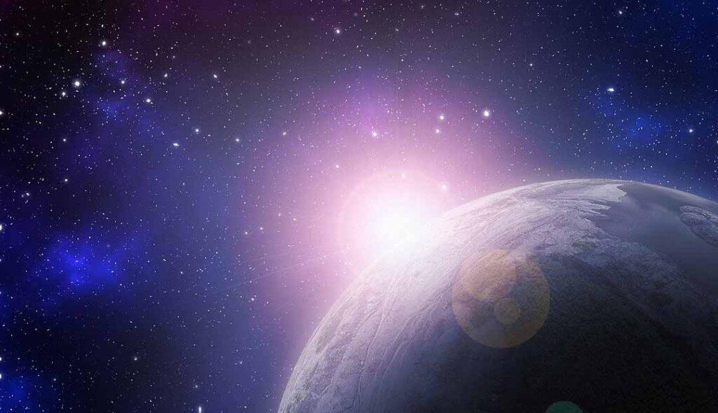宇宙から地球に強力な光がさしている